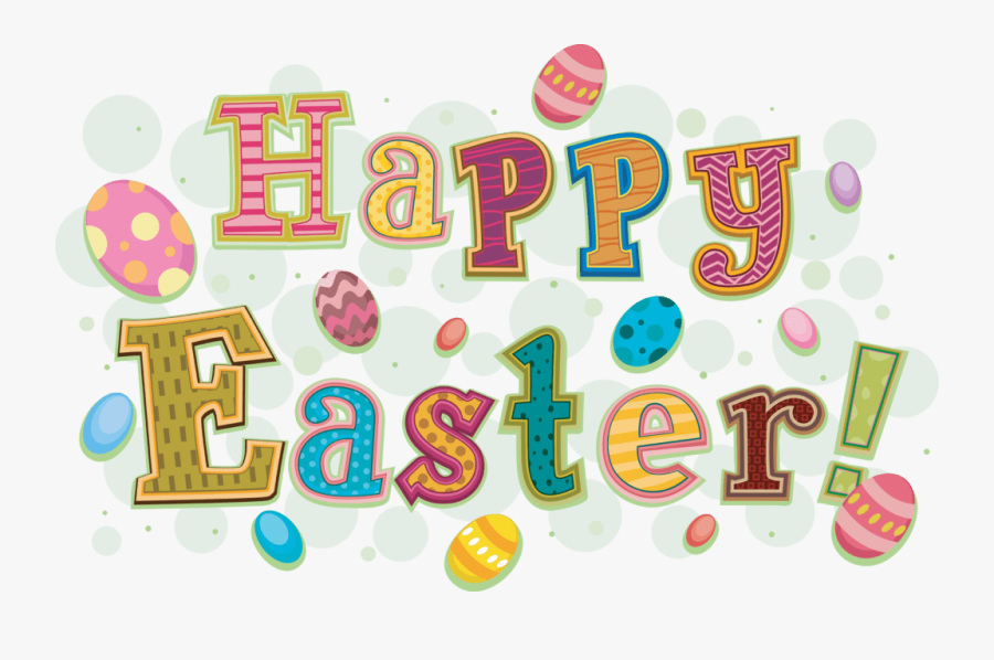 Happy Easter Logo With Painted Easter Eggs, Transparent Clipart