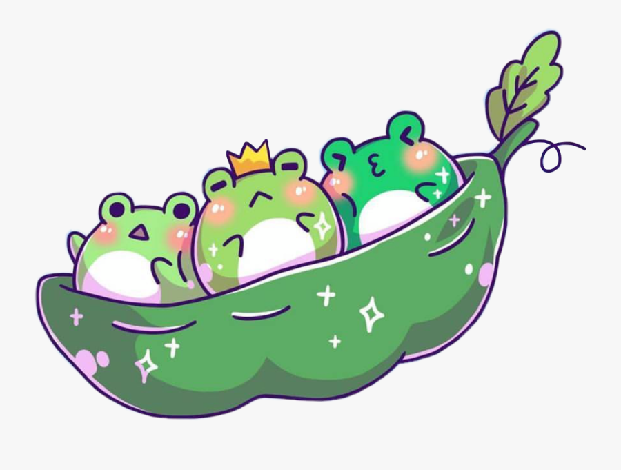 Frog Frogs Kawaii Cute Green Crown Peapod Peas Kawaii Cute Frogs Free Transparent Clipart Clipartkey