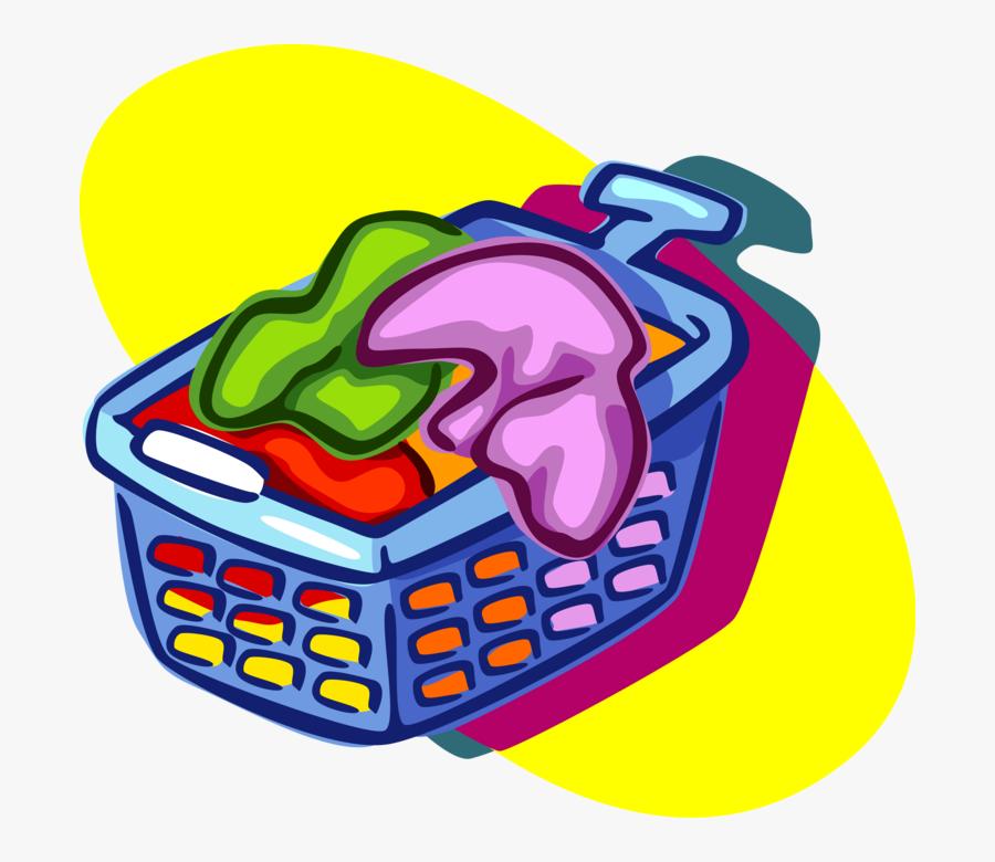 Vector Illustration Of Laundry Basket Hamper For Clean - Laundry Basket Clip Art, Transparent Clipart