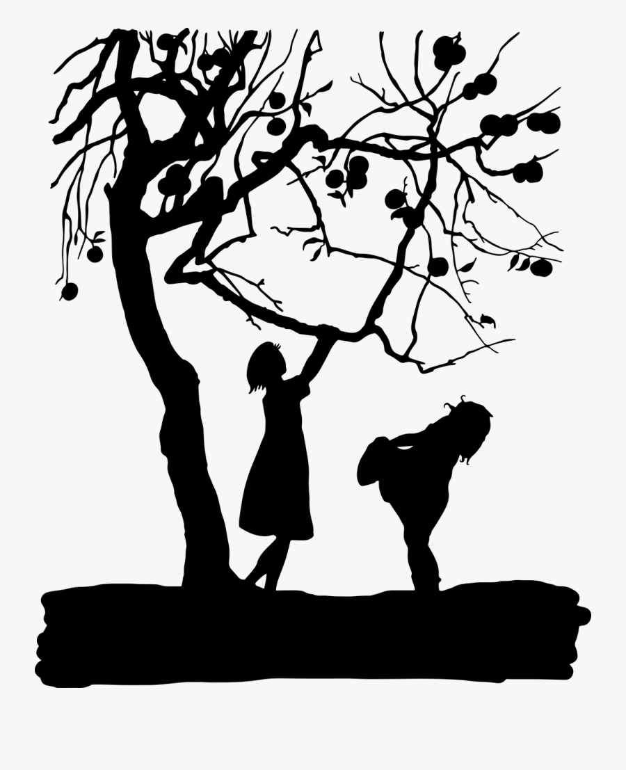 Vintage Kids Children Silhouette Png Image - Apple Tree Free Silhouette Clipart, Transparent Clipart