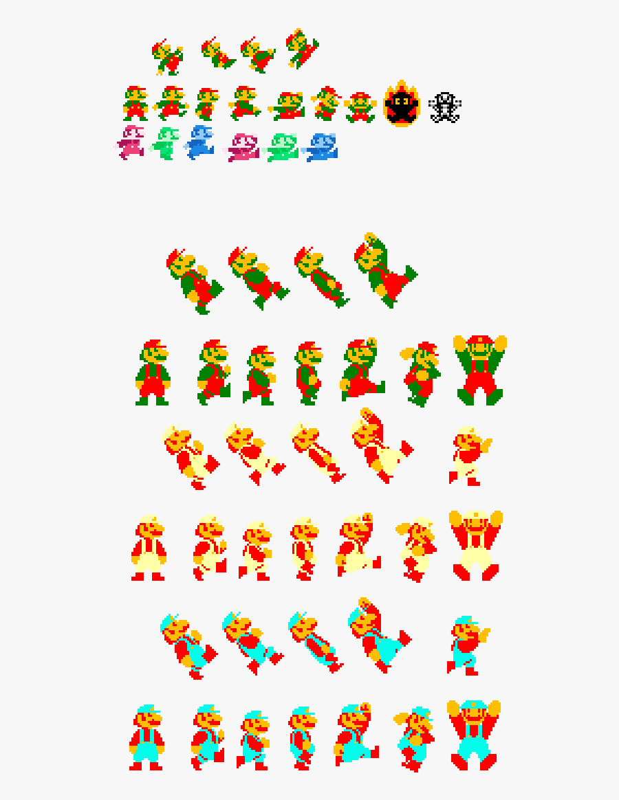 Sprite Sheet Mario Animation, Transparent Clipart