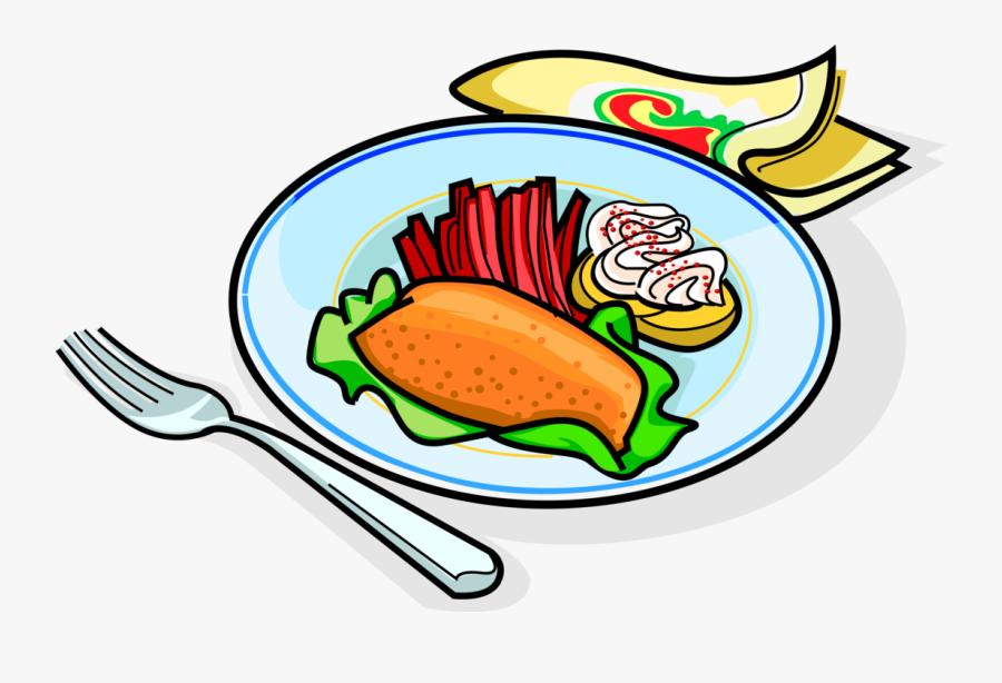 Vector Illustration Of Russian Cuisine Garnished Fried - Free Clip Art Dinner, Transparent Clipart