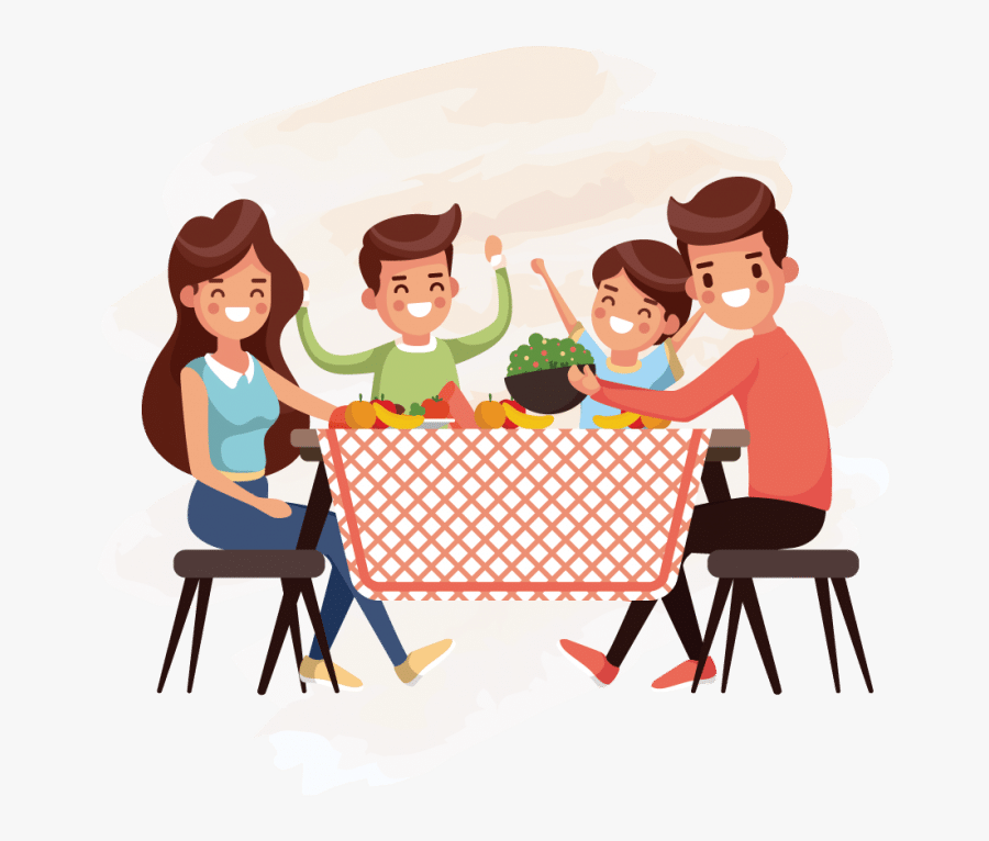 Family Eat Vector, Transparent Clipart