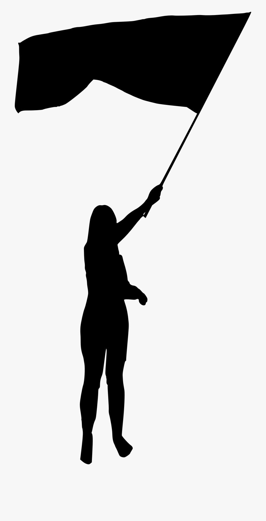 Transparent Nadar Clipart - Woman Holding Flag Silhouette, Transparent Clipart
