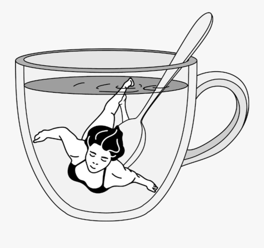 #taza #triste #sad #nadar #chica #nadando #chicanadando - Cartoon, Transparent Clipart