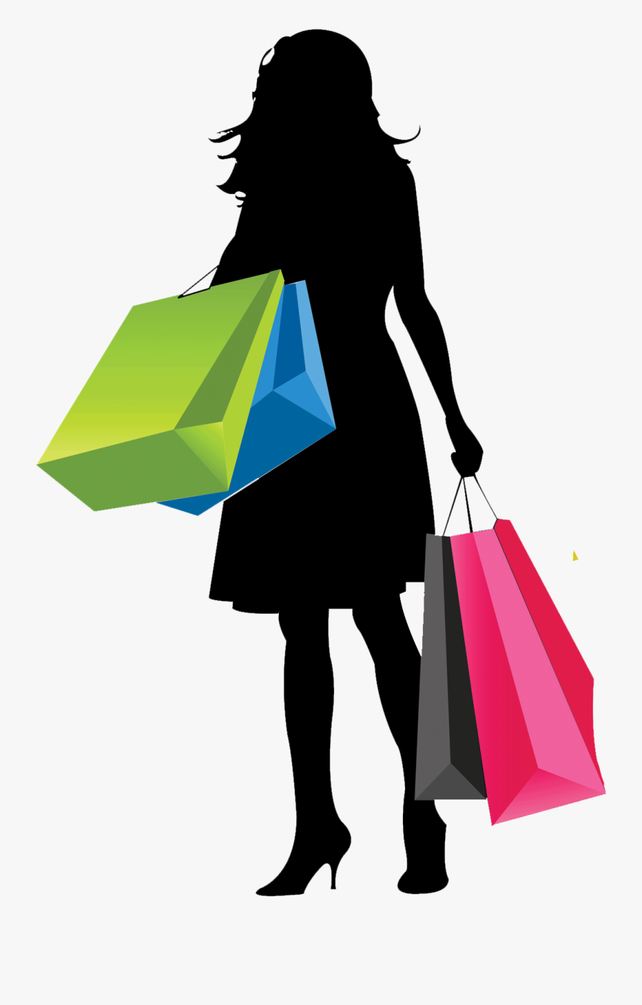 Download Vector Png Girl With Shopping Bags-shopping - Shopping Girl Vector Png, Transparent Clipart