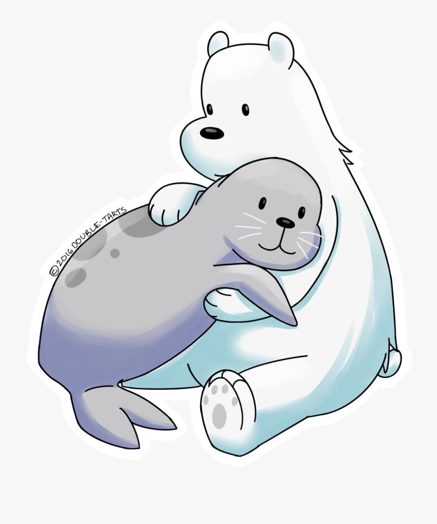 Transparent Polar Bear On Ice Clipart - Cartoon Polar Bear And Seal, Transparent Clipart