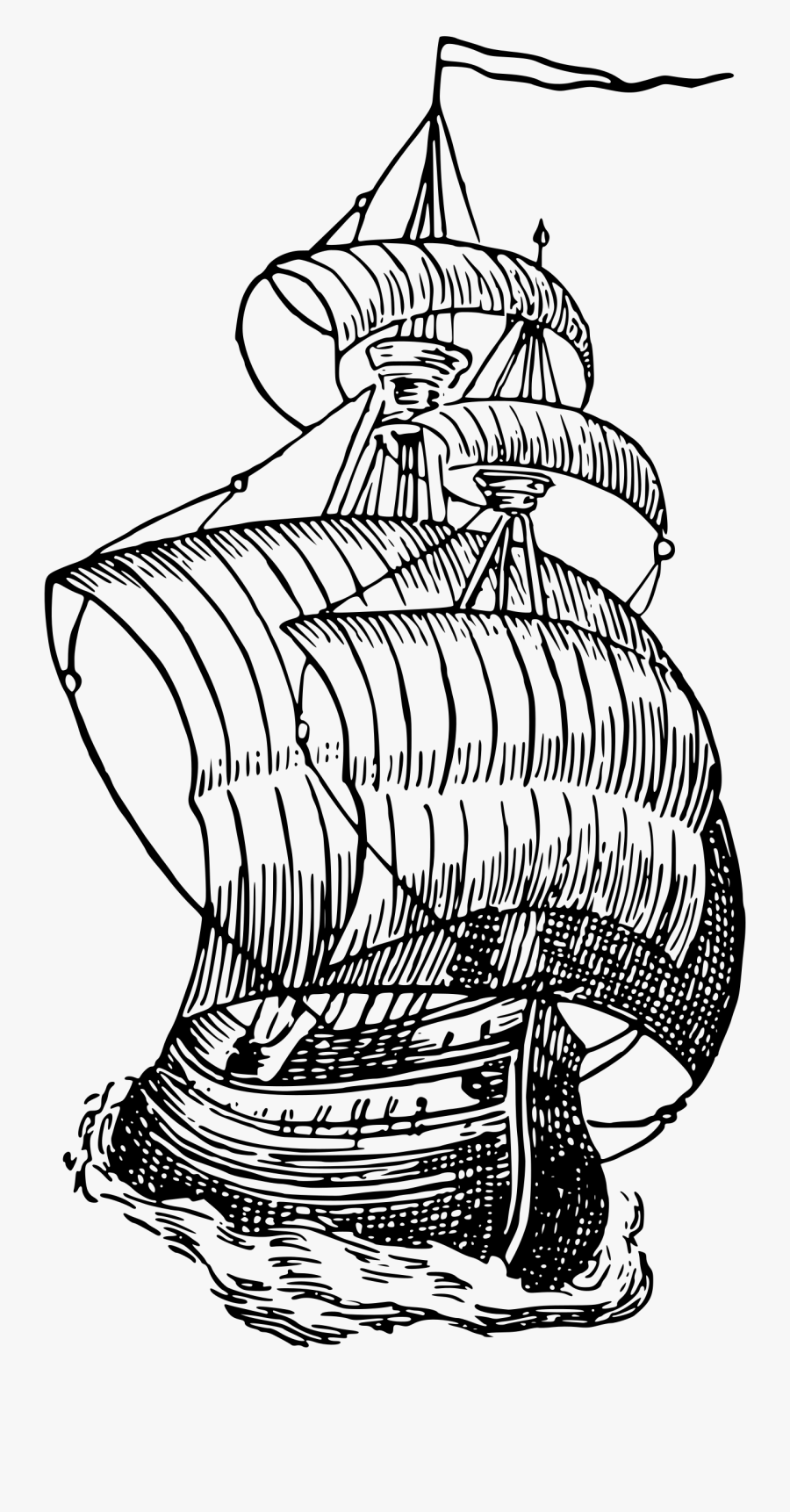 Clip Black And White Mayflower Drawing Kid - Clipart Sailing Ship, Transparent Clipart