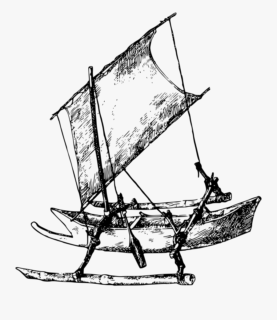 Drawing At Getdrawings Com - Boat With Outrigger Clipart, Transparent Clipart