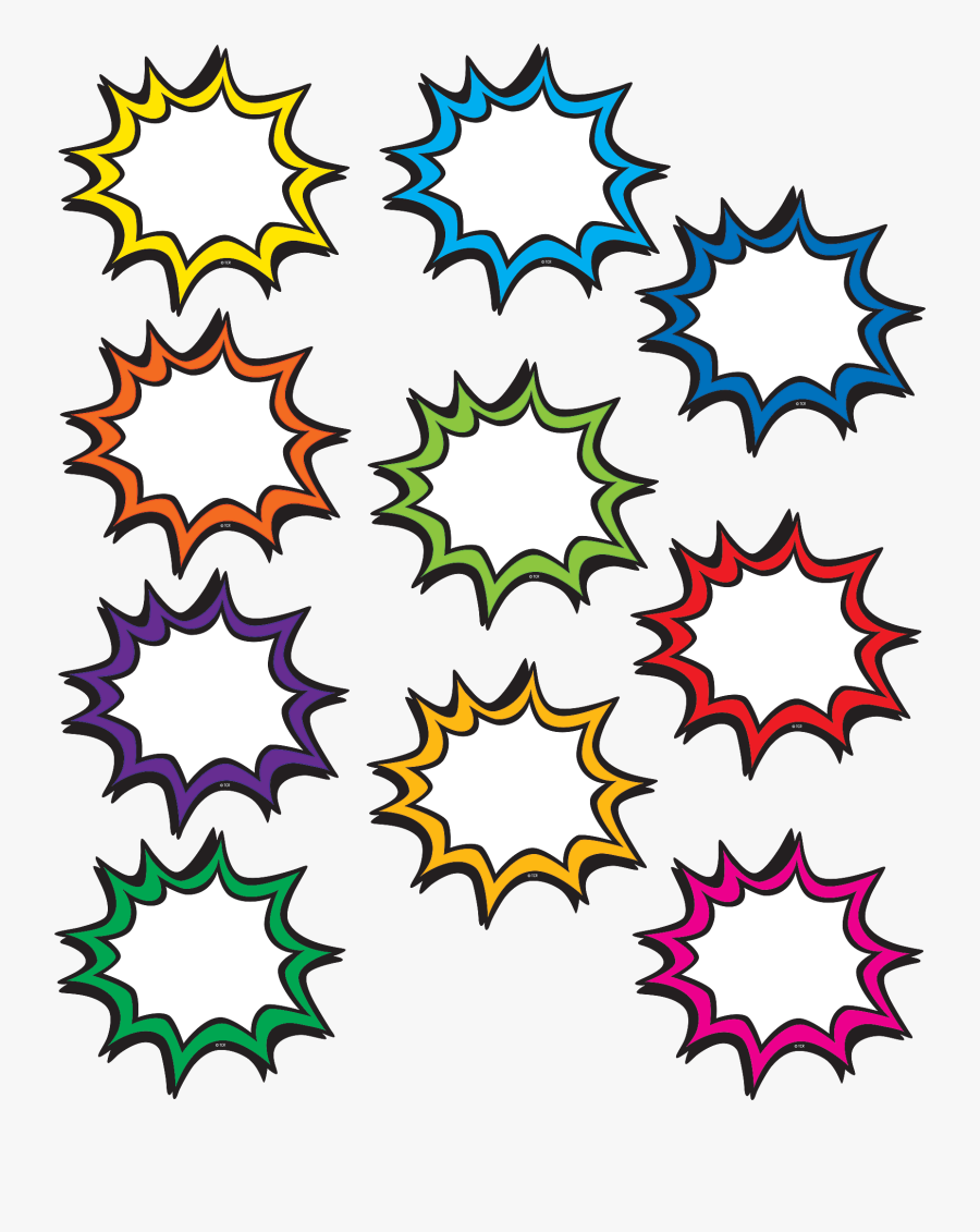 Transparent Decorative Label Clipart - Blank Superhero Speech Bubbles, Transparent Clipart