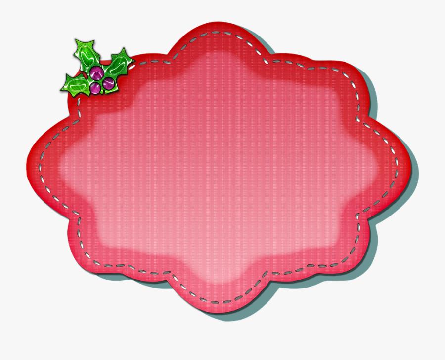 Christmas Label Decoration Ornament Design Red - Etiqueta Fundo Vermelho Png, Transparent Clipart