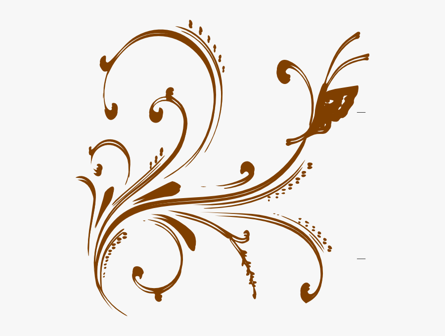 Gold Floral Design With Butterfly Clip Art At Clker, Transparent Clipart