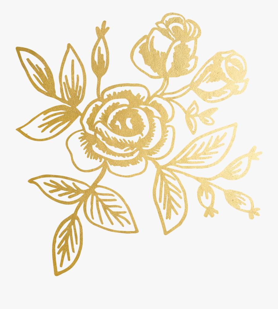 Clip Art By Rifle Paper Co - Gold Floral Transparent Background, Transparent Clipart