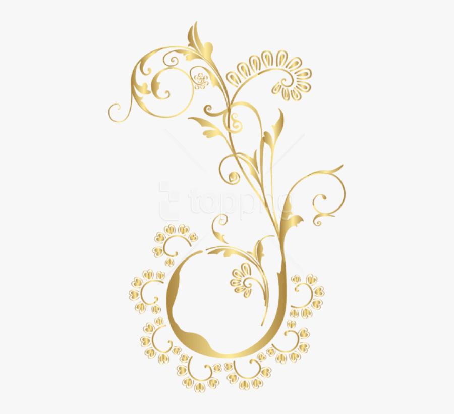 Free Png Download Gold Floral Element Clipart Png Photo - Gold Transparent Floral Pattern Png, Transparent Clipart