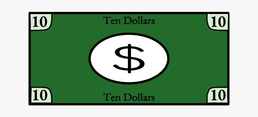 Ten Dollar Bill, - United States One-dollar Bill, Transparent Clipart