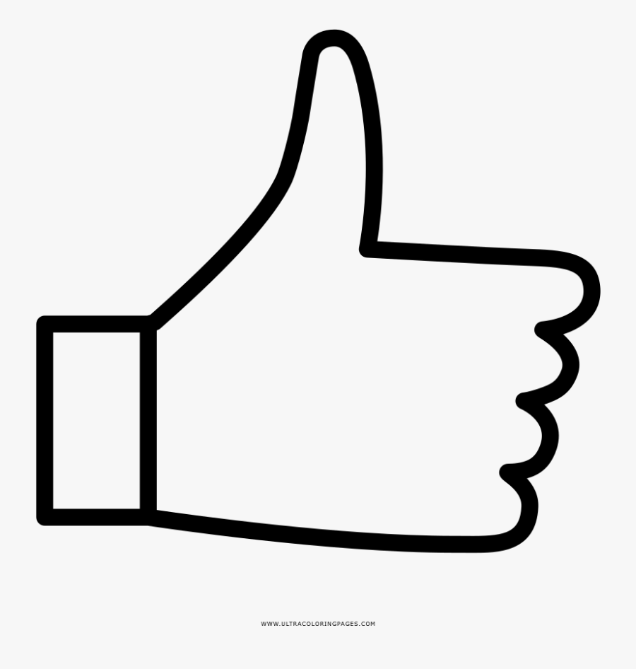 Thumbs Up Coloring Page - Like Facebook For Coloring, Transparent Clipart