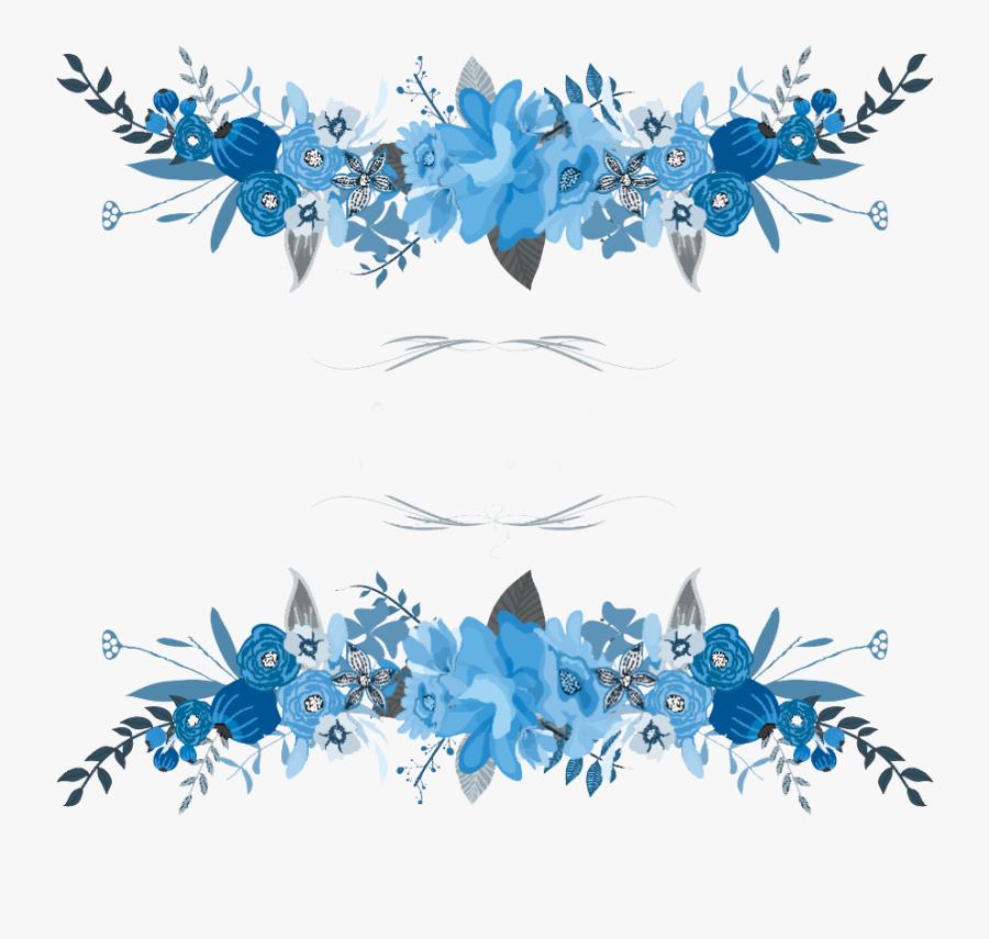 Blue Flower Frame Png, Transparent Clipart