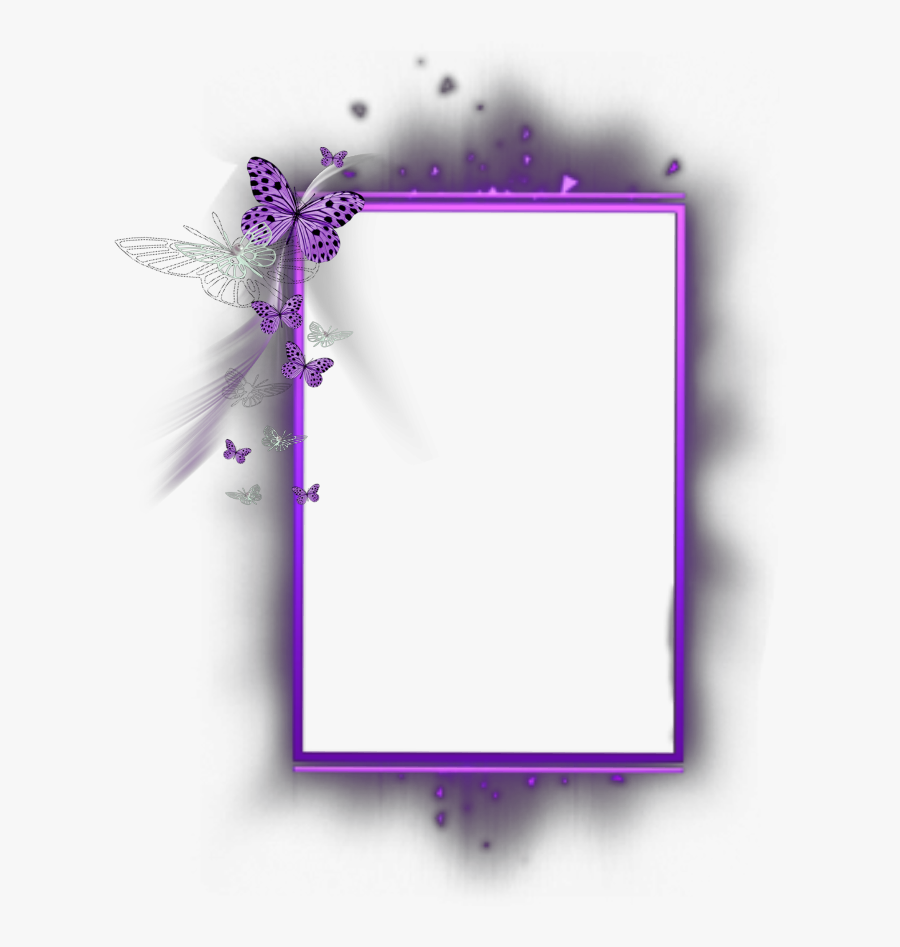 Transparent Purple Butterfly Border Clipart - Butterfly Border Line Design, Transparent Clipart
