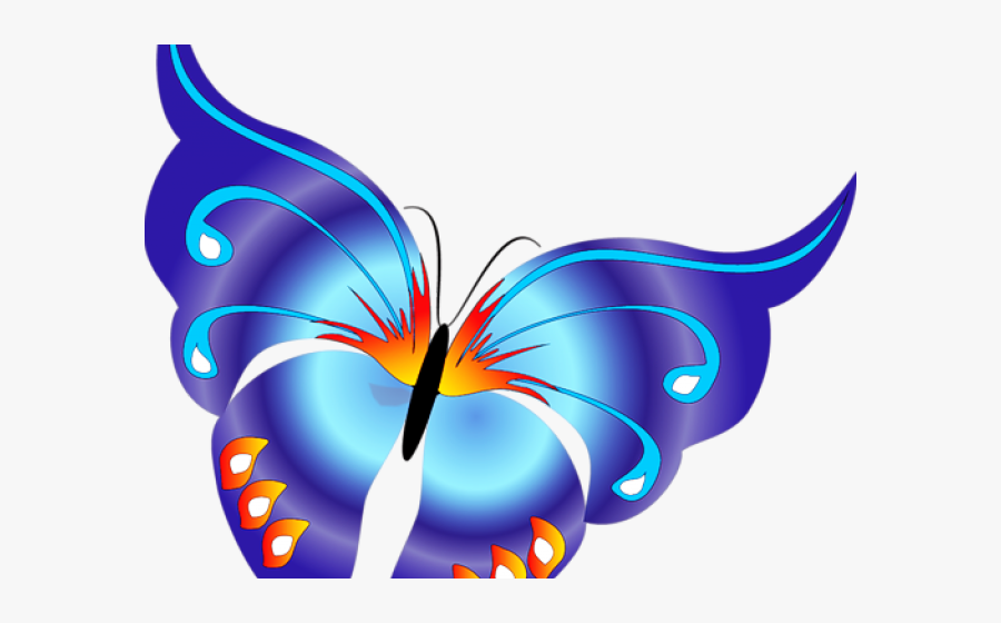 Rainbow Butterfly Clipart Png Format - Butterfly Border Design Png, Transparent Clipart