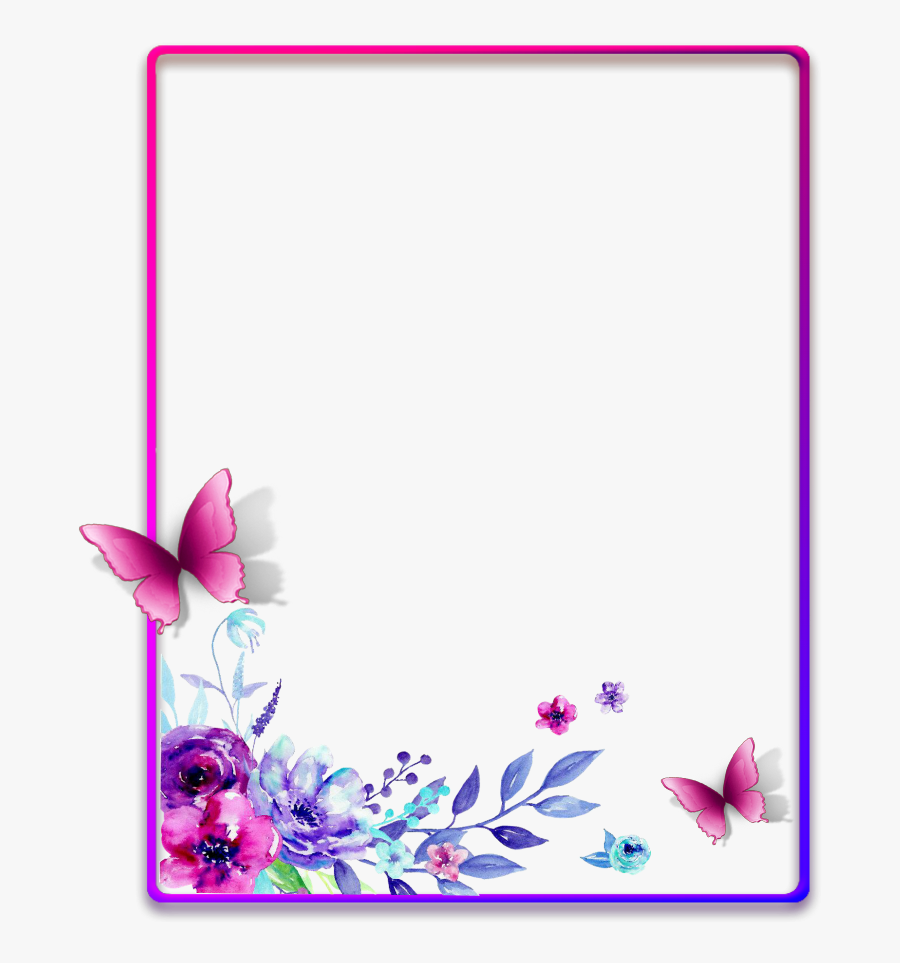 Ftestickers Frame Borders Watercolor Flowers Pimk - Frames And Borders Flowers, Transparent Clipart