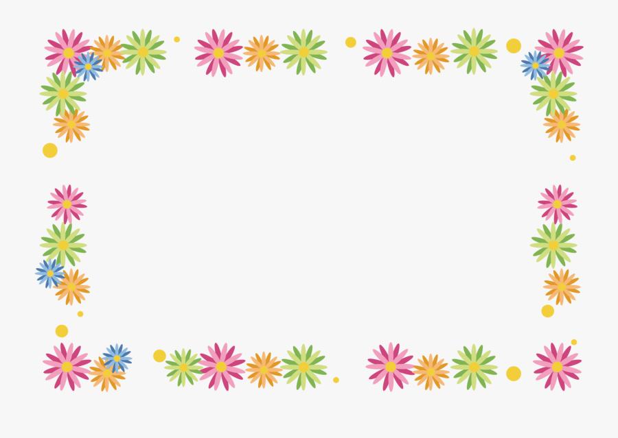 Clipart Flowers Border Line - Floral Frame Design, Transparent Clipart