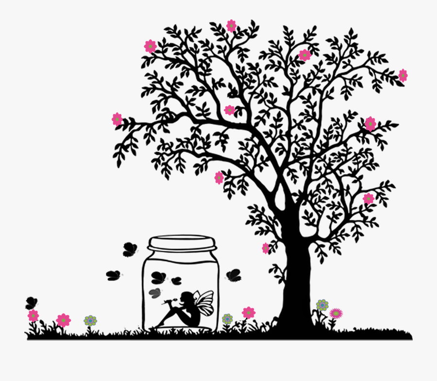 Design, Jar, Tree, Drawing, Animation, Flower, Tree, - Black And White Tree Clipart, Transparent Clipart