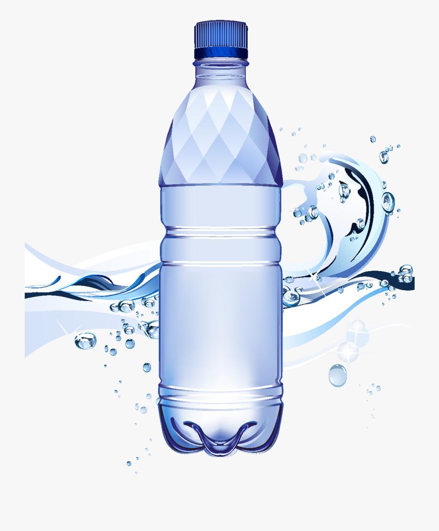 Cartoon Waterdrop Mineral Water Element - Transparent Background Cartoon Water Bottles, Transparent Clipart
