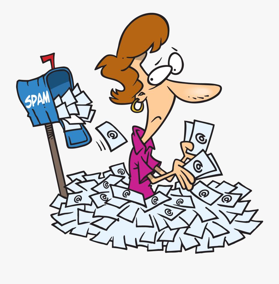 Woman Buried Under Spam Mail - Spam Mail Transparent, Transparent Clipart