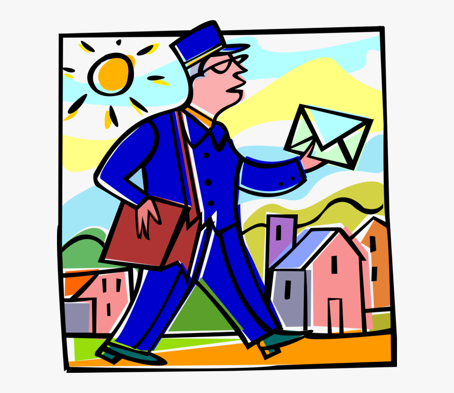 Vector Illustration Of Postal Mailman Delivers Envelopes, Transparent Clipart