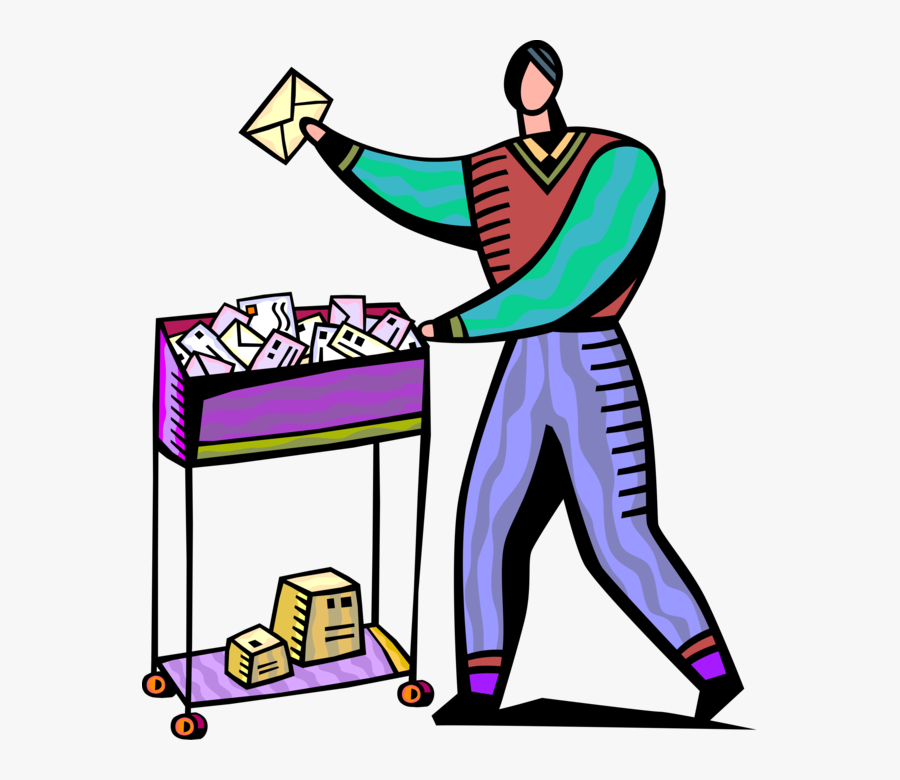 Vector Illustration Of Mailroom Office Worker Delivers, Transparent Clipart