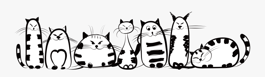 Kitten Felidae Drawing Creative - Funny Clipart Black And White Cat, Transparent Clipart