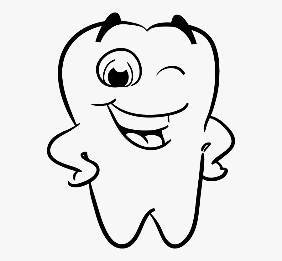 Vector Winking Happy Smiling Tooth - Tooth Black And White, Transparent Clipart