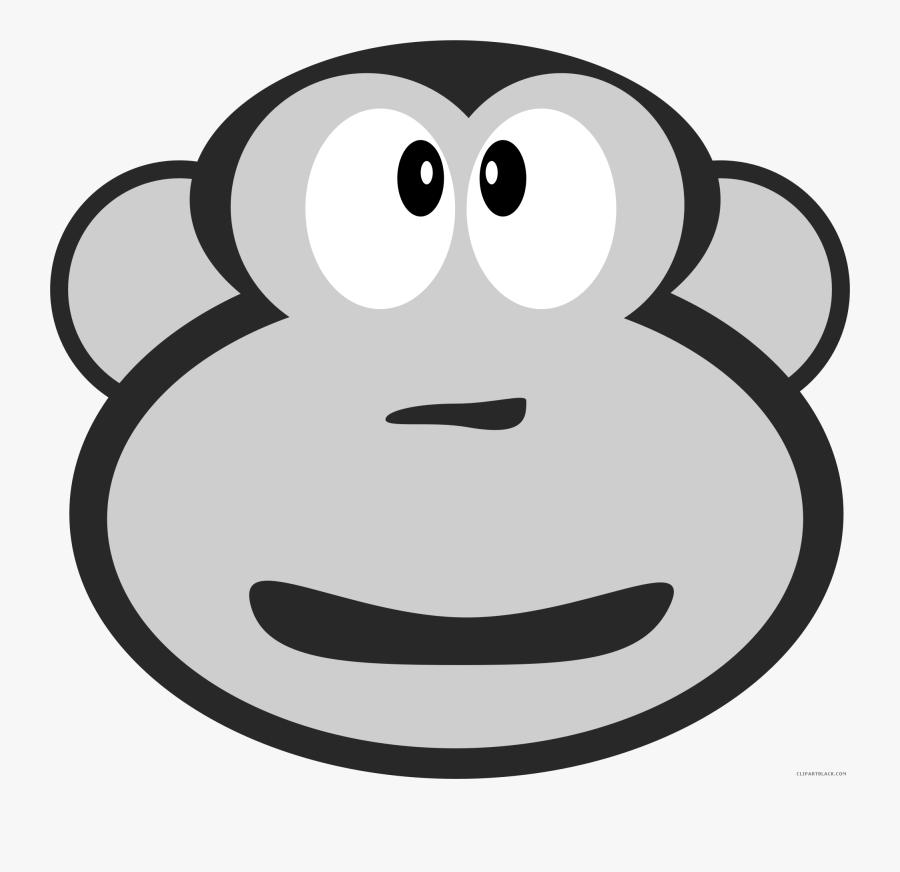 Monkey Head Animal Free Black White Clipart Images - Cartoon, Transparent Clipart
