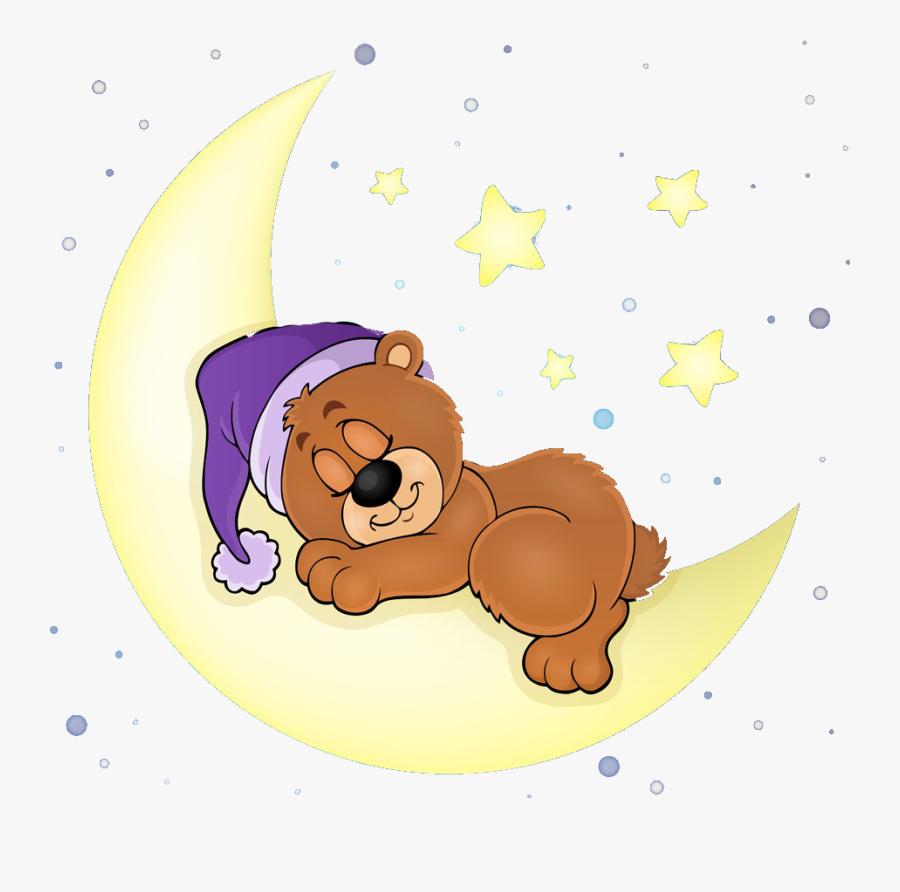 #cute #bear #sleeping #sleep #moon #star #stars #blue - Cute Bear Sleeping Cartoon, Transparent Clipart