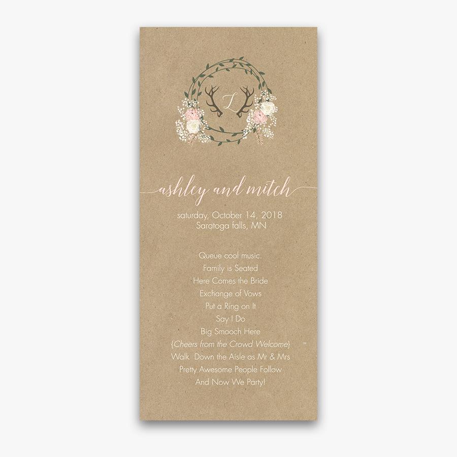 Floral Wreath And Antler Kraft Wedding Ceremony Program - Sand Dollar, Transparent Clipart
