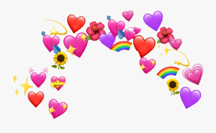 #heart #crown #sticker #remixit #emoji #emojis #hearts - Heart Emoji Meme Png, Transparent Clipart