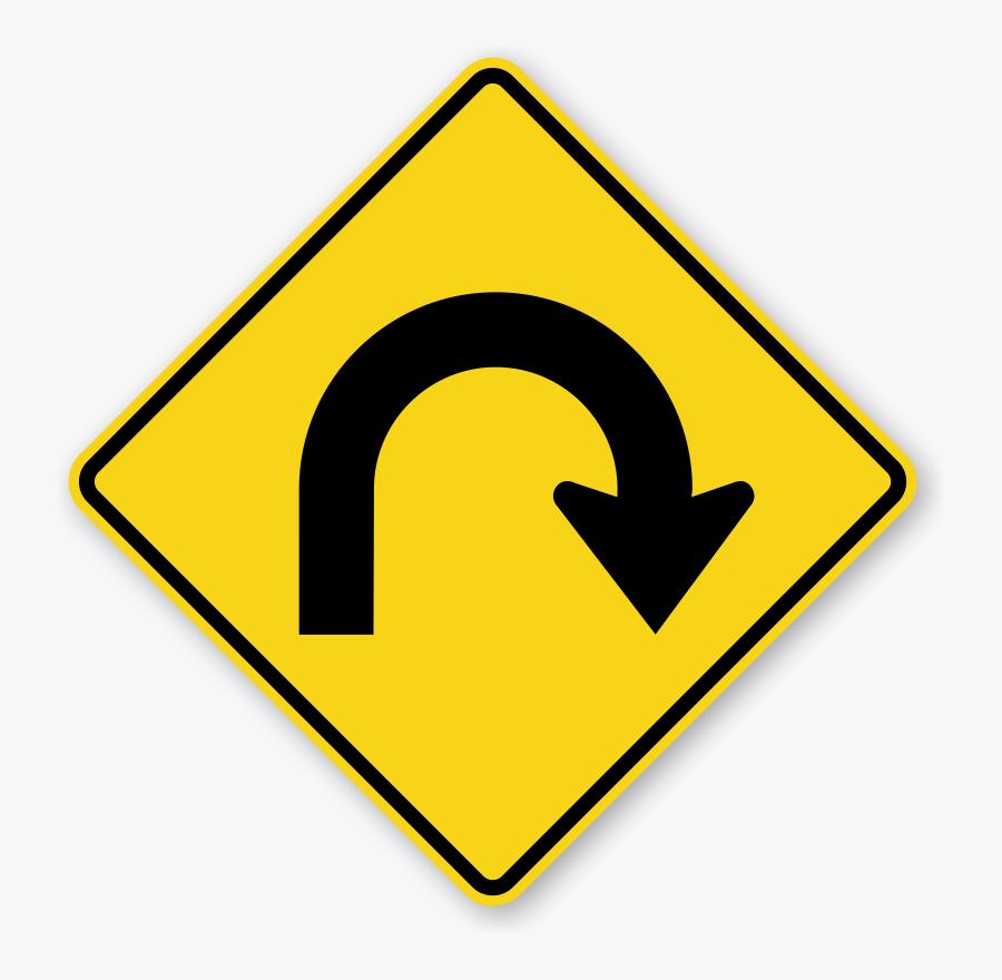 Clip Art Hairpin Curve Right Symbol - U Turn Traffic Sign, Transparent Clipart