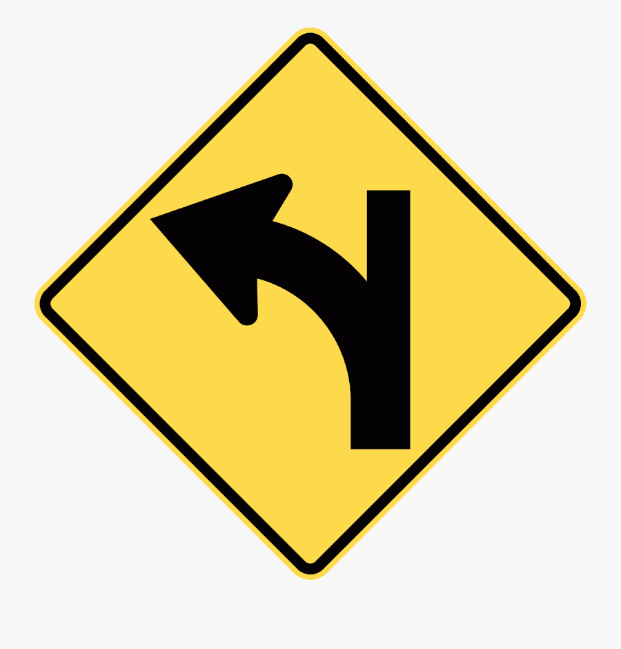 W2-16l Major Road Curves Left Minor Road Ahead - Does The Sign With Two People Walking Mean, Transparent Clipart
