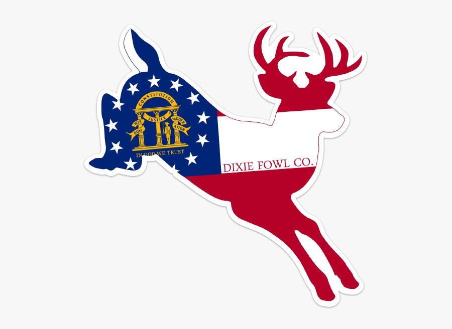 Transparent Whitetail Deer Clipart - Georgia State Flag, Transparent Clipart