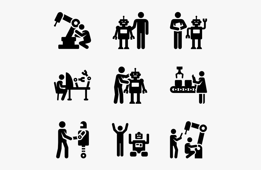 People,social Group,text,font,line Art,black And White,family - Human Robot Interaction Icon, Transparent Clipart