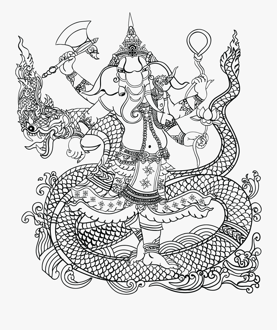 Transparent Elephant Clipart Black And White - Hindu Elephant God Png, Transparent Clipart