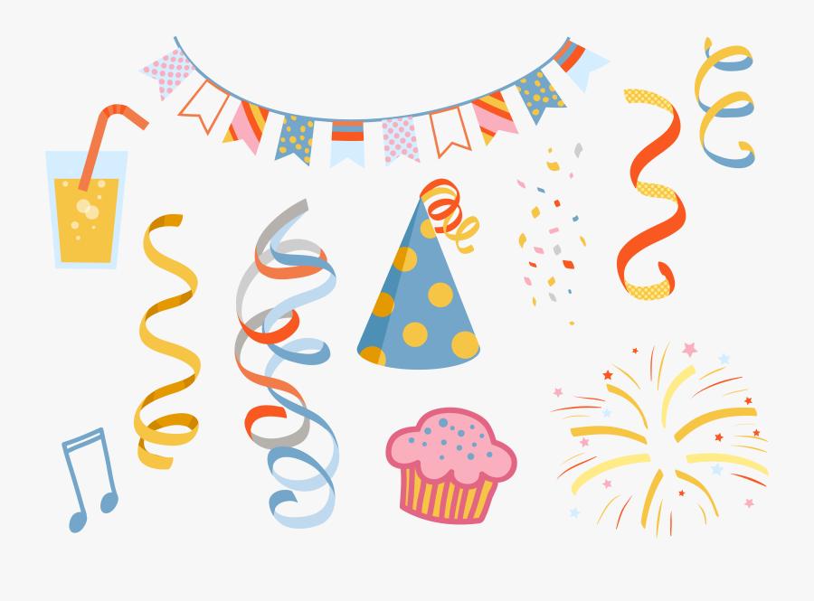 Clip Art Party Supplies Clip Art - Birthday Decorative Items Png, Transparent Clipart