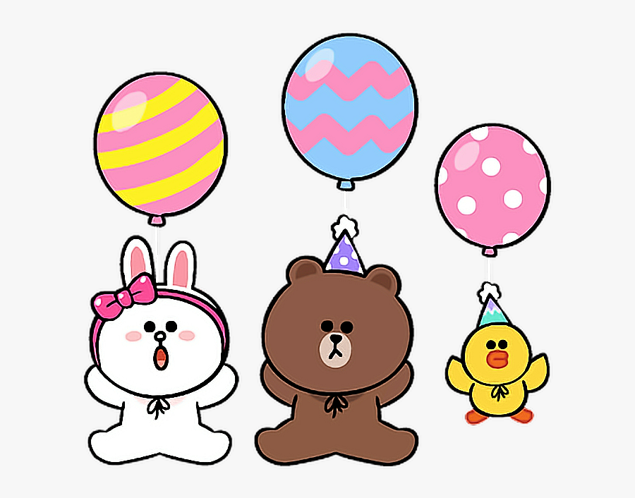 Line Cony Brown Sally Birthday Party Balloon Colorful - Line Sally Happy Birthday, Transparent Clipart