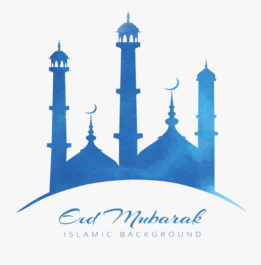 Blue Quran Sky Zayed Mosque Ramadan Poster Clipart - Eid Mubarak Logo Png, Transparent Clipart