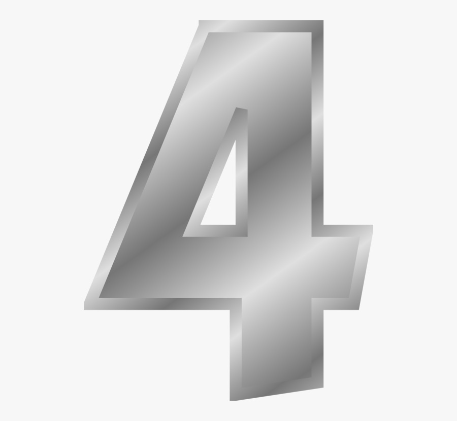 Angle,symbol,triangle - Silver Number 4, Transparent Clipart