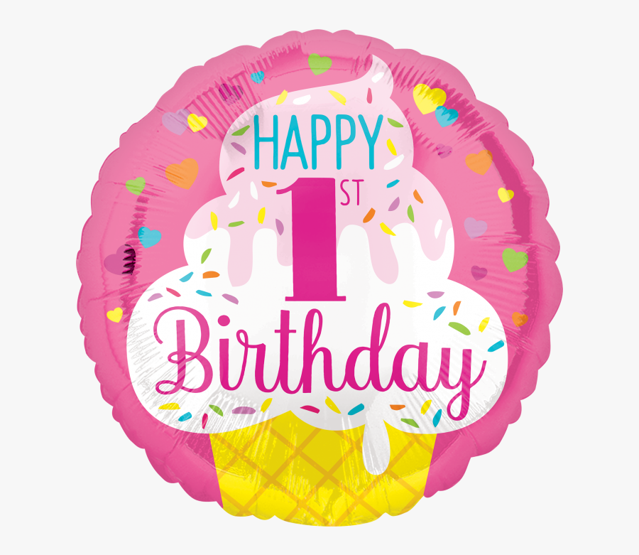 Happy Birthday First Year Girl, Transparent Clipart