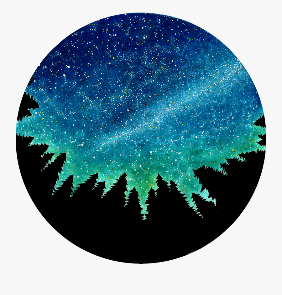 Astronomy Drawing Night Landscape - Night Sky Drawing, Transparent Clipart