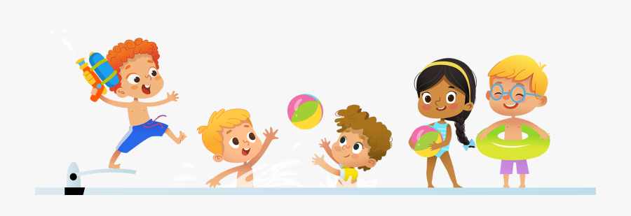 Vector Girls Pool Party Clipart, Transparent Clipart