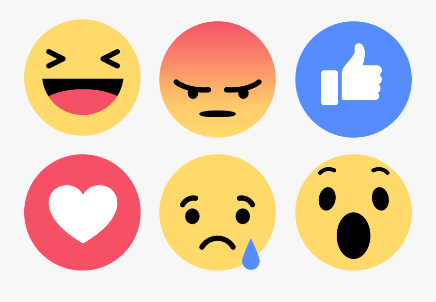 Download Emoji Facebook Vector Like Love Angry Sad - Facebook Like Buttons Png, Transparent Clipart