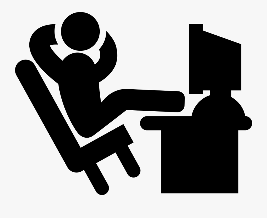 Office Worker Outline Free People Icons Svg Psd Png - Man At Computer Icon, Transparent Clipart
